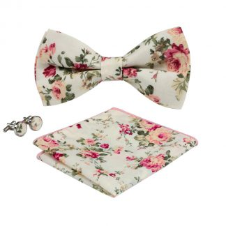 Cream Floral Bow Tie Set